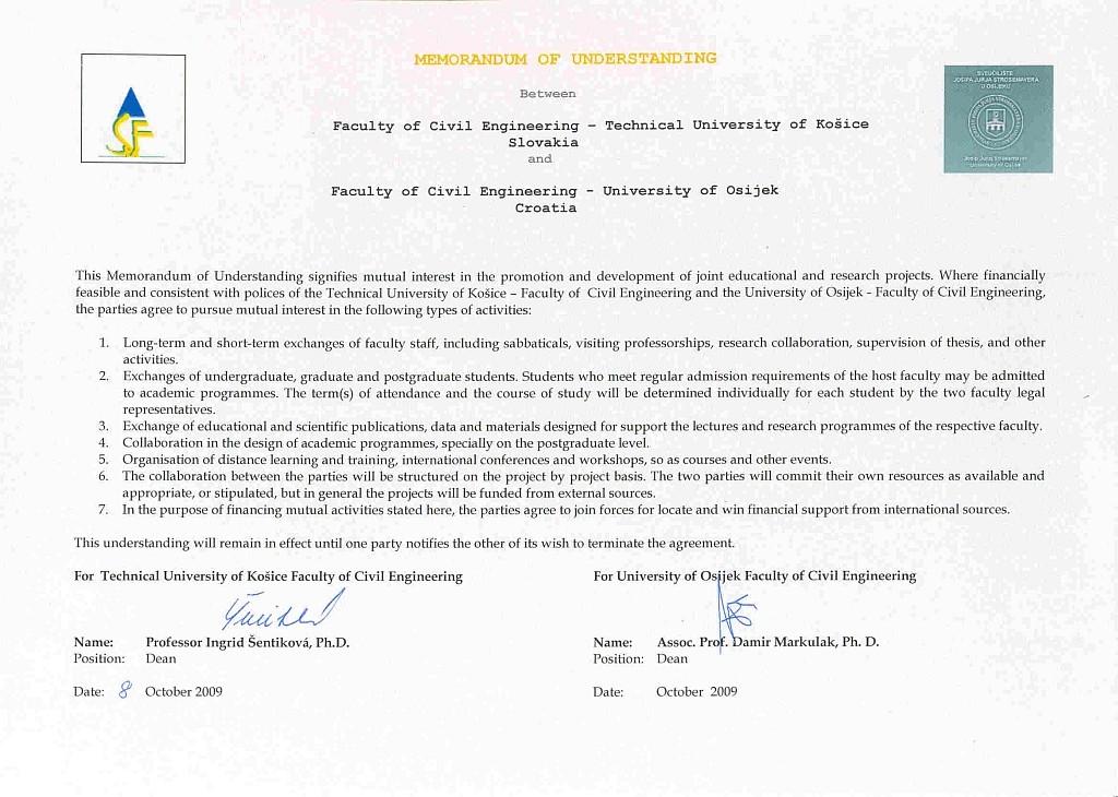 Memo of understanding between Faculty of Cevil Engineering - Technical University of Košice Slovakia and GFOS