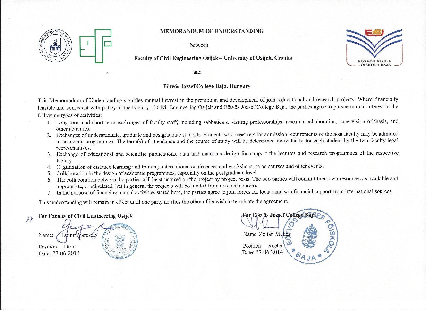 Memorandum o suradnji sa Visokom školom iz Baje