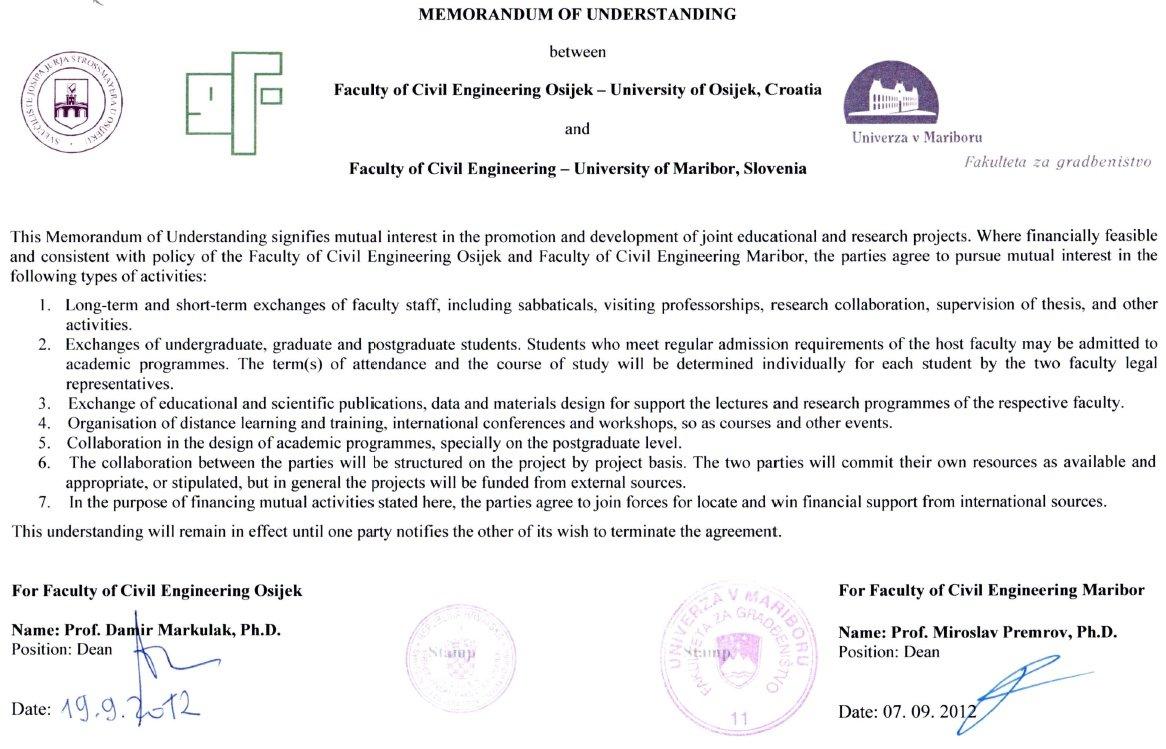 Memorandum o suradnji sa Građevinskim fakultetom iz Maribora
