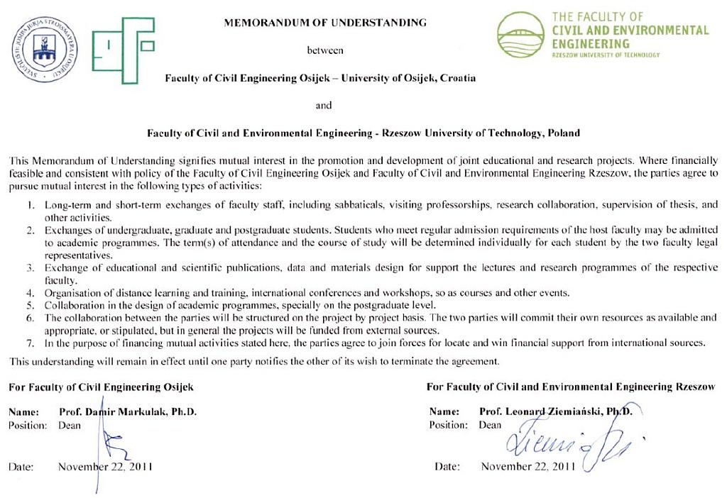 Memorandum o suradnji s Fakultetom građevinarstva i okolišnog inženjerstva iz Rzeszowa